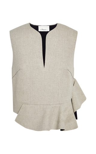 Sleeveless cropped top with ruffle and raw edge by 3.1 PHILLIP LIM for Preorder on Moda Operandi