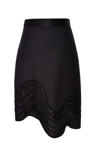 A-line skirt with embroidered hem in black by 3.1 PHILLIP LIM Preorder Now on Moda Operandi