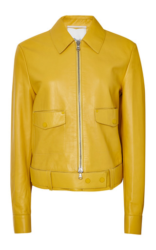 Boxy jacket with topstitch detail in mustard by 3.1 PHILLIP LIM Preorder Now on Moda Operandi