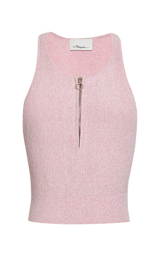 Cropped zip-up tank in pink by 3.1 PHILLIP LIM for Preorder on Moda Operandi