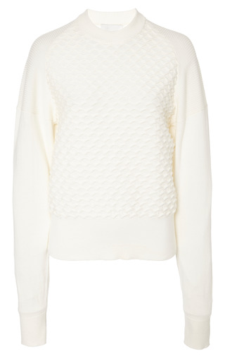 Longsleeve crewneck pullover in ivory by 3.1 PHILLIP LIM for Preorder on Moda Operandi