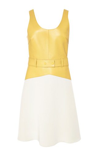 Scoop neck dress with topstitch detail in mustard by 3.1 PHILLIP LIM for Preorder on Moda Operandi