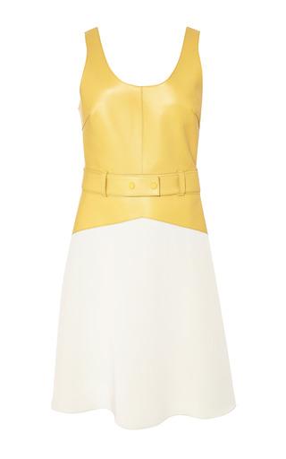 Scoop neck dress with topstitch detail in mustard by 3.1 PHILLIP LIM Preorder Now on Moda Operandi
