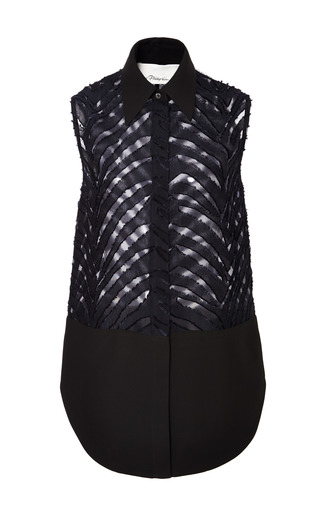 Sleeveless Collared Shirt In Black by 3.1 PHILLIP LIM for Preorder on Moda Operandi