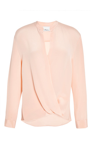 Softly draped blouse with tucked in collar in peach puff by 3.1 PHILLIP LIM for Preorder on Moda Operandi