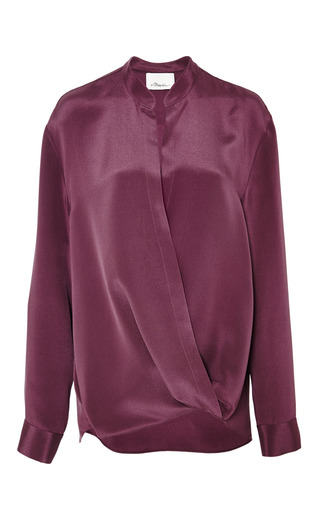 Softly draped blouse with tucked in collar in plum by 3.1 PHILLIP LIM Preorder Now on Moda Operandi