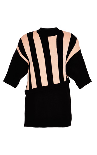 Short sleeve pullover with contrast stripe in coral by 3.1 PHILLIP LIM Preorder Now on Moda Operandi