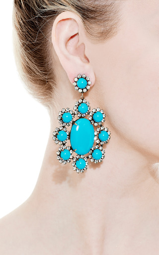 Vintage Kenneth Jay Lane Turquoise Cabochon Earrings by Carole Tanenbaum for Preorder on Moda Operandi