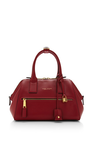 Small smooth incognito bag in ruby by MARC JACOBS for Preorder on Moda Operandi