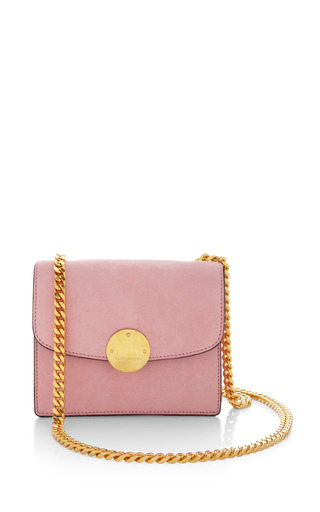 Mini suede trouble bag in baby pink by MARC JACOBS for Preorder on Moda Operandi