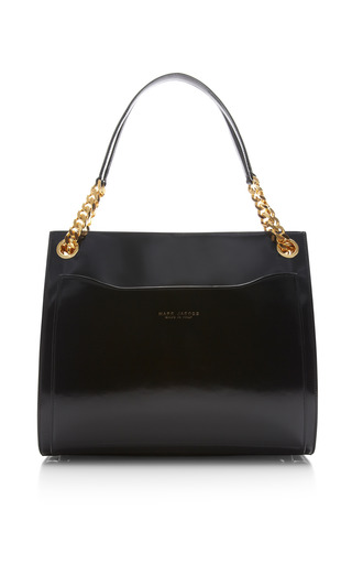 Le grand shopping bag in polished black by MARC JACOBS for Preorder on Moda Operandi