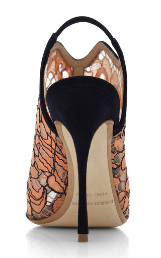 Lace Open Toe Glove Sandal In Orange by Nicholas Kirkwood for Preorder on Moda Operandi
