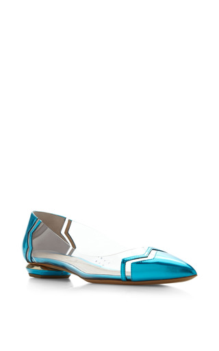 Chevron Skimmer In Turquoise by Nicholas Kirkwood for Preorder on Moda Operandi