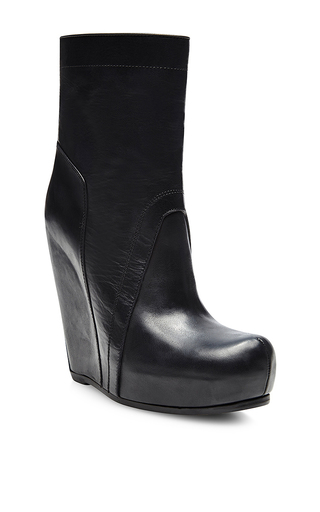Wedge leather boots by RICK OWENS Now Available on Moda Operandi