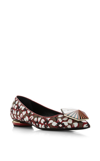 Season Hexagon Skimmer In Red Floral by Nicholas Kirkwood for Preorder on Moda Operandi