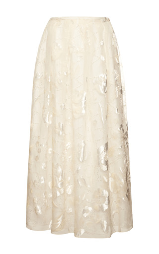 Sangallo lace skirt with velvet flowers by ROCHAS Preorder Now on Moda Operandi