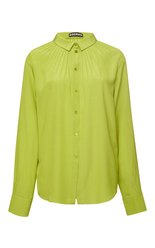 Lime green pintuck silk chiffon blouse by ROCHAS Preorder Now on Moda Operandi