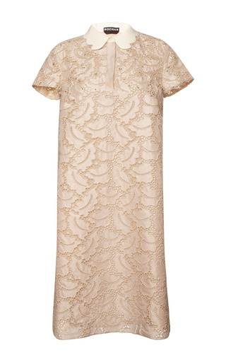 Embroidered sangallo lace collared shift dress by ROCHAS Preorder Now on Moda Operandi