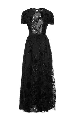 Sangallo Lace Open Back Dress With Velvet Flowers by Rochas for Preorder on Moda Operandi