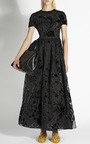 Sangallo Lace Open Back Dress With Velvet Flowers by Rochas for Preorder on Moda Operandi