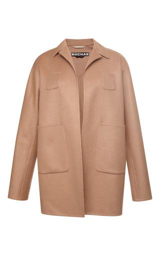 Double wool cashmere long jacket in hazelnut by ROCHAS Preorder Now on Moda Operandi