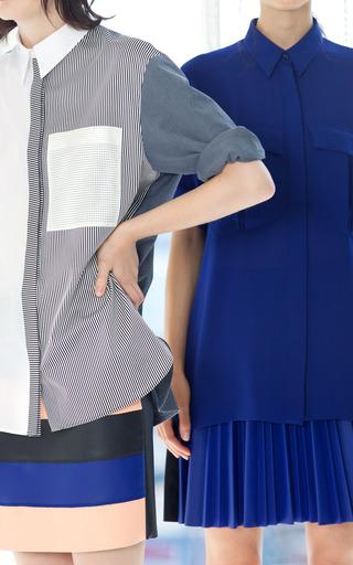 Cédric Charlier - Fantasy Print Grey Faux Leather Skirt