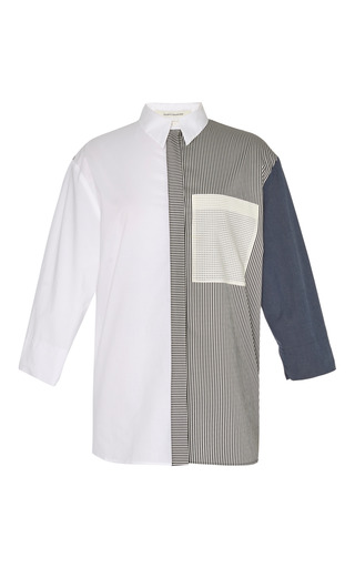 Fantasy print white poplin shirt by CéDRIC CHARLIER Preorder Now on Moda Operandi