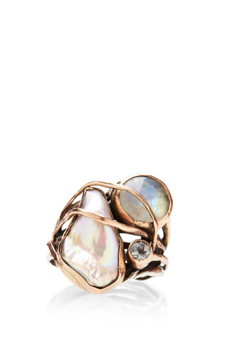 One Of A Kind 12K Gold Ring With Pearl, Labradorite And White Topaz by Sandra Dini for Preorder on Moda Operandi