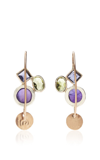 Sandra Dini - One Of A Kind 12K Gold Earrings With Amethyst, Iiolite And Peridot
