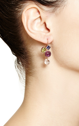 One Of A Kind 12K Gold Earrings With Amethyst, Iiolite And Peridot by Sandra Dini for Preorder on Moda Operandi