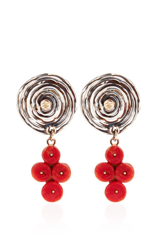 Sandra Dini - One Of A Kind 12K Gold Earrings With Coral