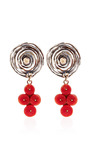 One Of A Kind 12K Gold Earrings With Coral by Sandra Dini for Preorder on Moda Operandi