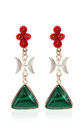 Sandra Dini - One Of A Kind 12K Gold Earrings With Malachite And Coral