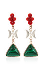 One Of A Kind 12K Gold Earrings With Malachite And Coral by Sandra Dini for Preorder on Moda Operandi