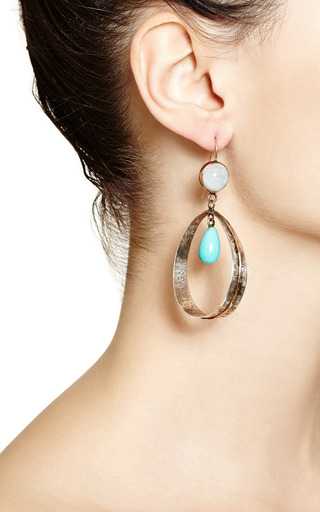 One Of A Kind Rose Gold Earrings With Pyrite And Pearls by Sandra Dini for Preorder on Moda Operandi