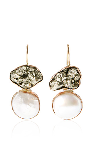 Sandra Dini - One Of A Kind Rose Gold Earrings With Pyrite And Pearls