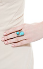 One Of A Kind Rose Gold Ring With Turquoise And Aquamarine by Sandra Dini for Preorder on Moda Operandi
