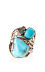 Sandra Dini - One Of A Kind Rose Gold Ring With Turquoise And Aquamarine