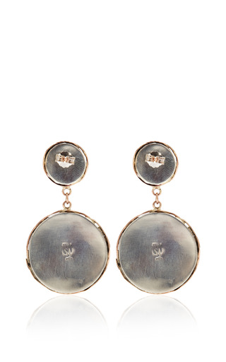 One Of A Kind 12 K Gold Earrings With Crysophrase And Turquoise by SANDRA DINI for Preorder on Moda Operandi