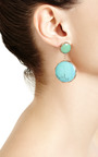 One Of A Kind 12K Gold Earrings With Crysophrase And Turquoise by Sandra Dini for Preorder on Moda Operandi