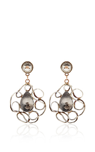 One Of A Kind 12K Gold Earrings With Pearl And Crysophrase by Sandra Dini for Preorder on Moda Operandi
