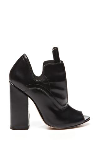 Black leather open toe boardwalk boots by ELLERY Now Available on Moda Operandi