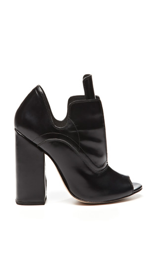 Black leather open toe boardwalk boots by ELLERY Now Available on Moda Operandi