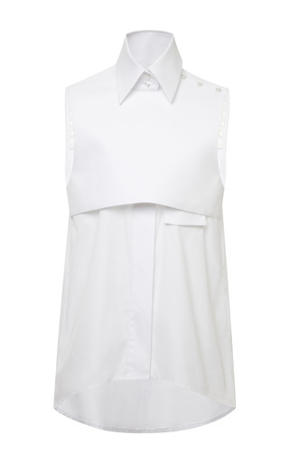 White cotton sleeveless danube shirt by ELLERY Now Available on Moda Operandi