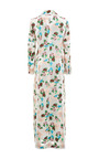 5 Button Db Long Coat In Pink And Blue Floral Jacquards by Thom Browne for Preorder on Moda Operandi