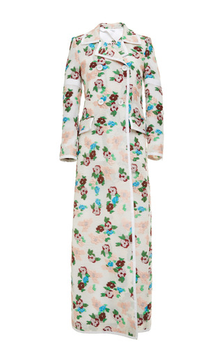 Thom Browne - 5 Button Db Long Coat In Pink And Blue Floral Jacquards