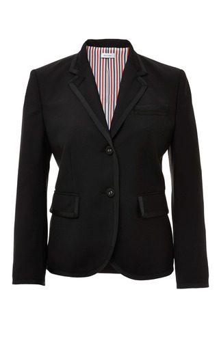 Classic little boy jacket in black kid mohair with black gg tipping by THOM BROWNE Now Available on Moda Operandi