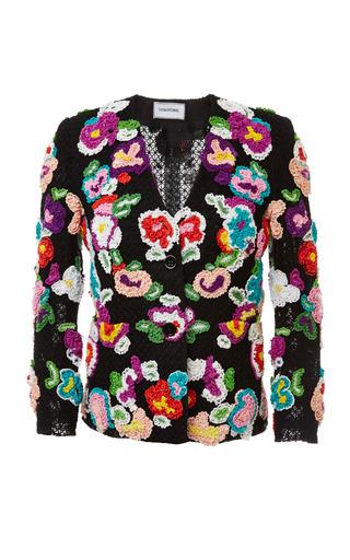 Flat collar little boy jacket in multi color hand crochet by THOM BROWNE for Preorder on Moda Operandi