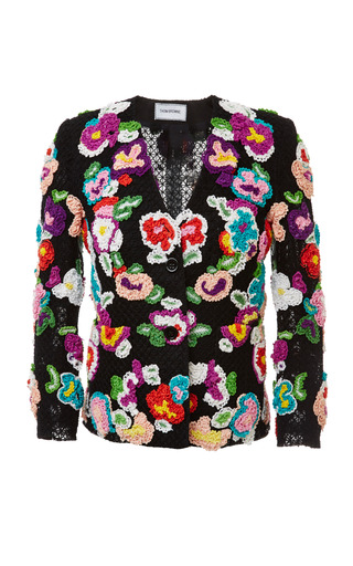 Flat collar little boy jacket in multi color hand crochet by THOM BROWNE for Preorder on Moda Operandi