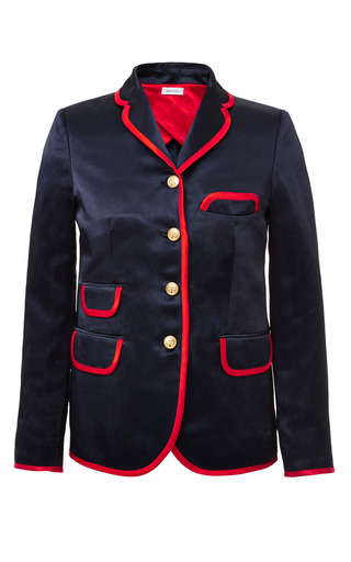 Little boy 4 button short coat in navy satin linen with red satin linen binding by THOM BROWNE for Preorder on Moda Operandi